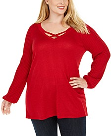 Plus Size Crisscross-Neck Sweater, Created For Macy's