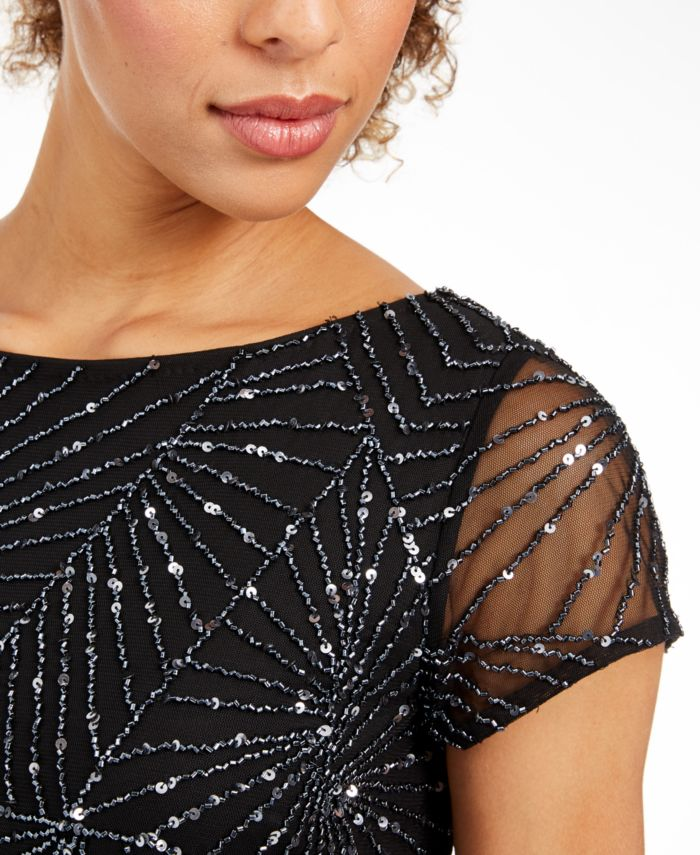 Adrianna Papell Beaded Mesh Top & Reviews - Tops - Women - Macy's