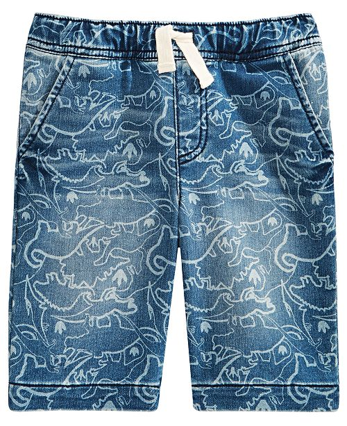 Epic Threads Toddler Boys Stretch Dino-Print Denim Shorts, Created For Macy's