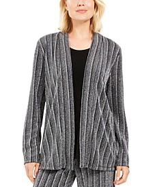 Petite Layered-Look Metallic Cardigan, Created For Macy's