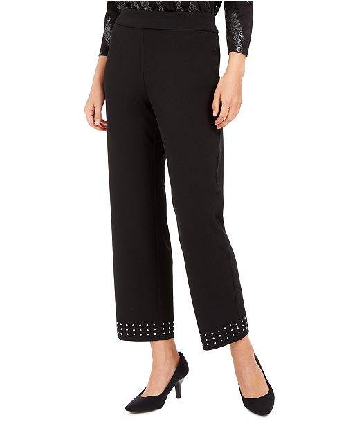 JM Collection Studded-Hem Ankle Pants, Created for Macy's