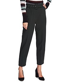 Belted Stretch-Crepe Pants