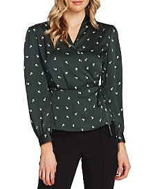 Vince Camuto Ditsy-Floral Peplum Wrap Top