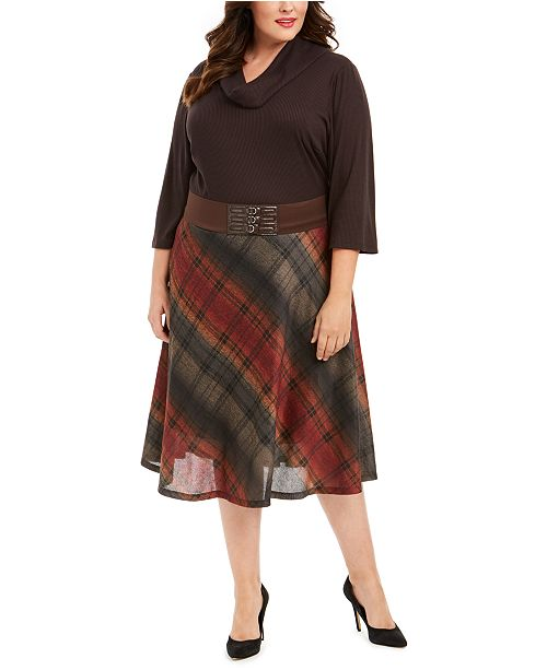 Robbie Bee Plus Size Belted Solid & Plaid Sweater Dress