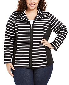 Plus Size Notch Collar Zip-Front Jacket, Created for Macy's