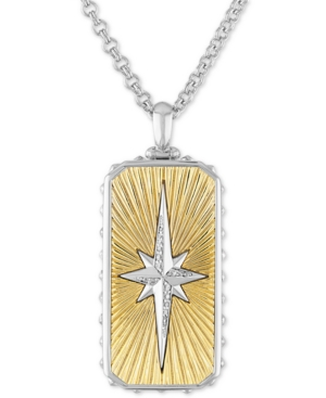 """Diamond Starburst Dog Tag 22"""" Pendant Necklace (1/8 ct. t.w.) in Sterling Silver & 14k Gold Over Sterling Silver"""
