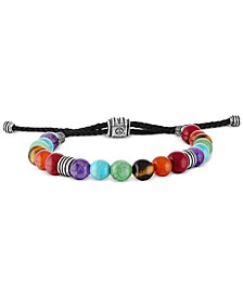 Multi-Color Beaded Bolo Bracelet in Sterling Silver