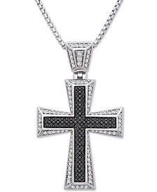 "Men's Diamond Cross 22"" Pendant Necklace (1 ct. t.w.) in Sterling Silver"