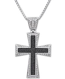 """Men's Diamond Cross 22"""" Pendant Necklace (1 ct. t.w.) in Sterling Silver"""