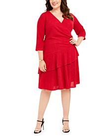 Plus Size Surplice Glitter Sweater Dress