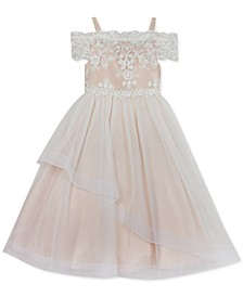 Little Girls Off-The-Shoulder Lace Dress