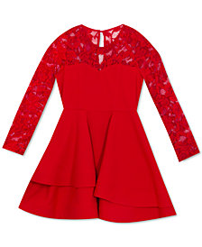 Rare Editions Big Girls Tiered Lace Scuba Dress