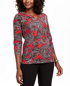 Printed 3/4-Sleeve Henley Top, Created For Macy's