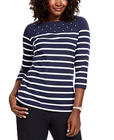 Petite Striped Boatneck T-Shirt, Created For Macy's