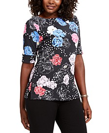 Petite Printed Elbow-Sleeve T-Shirt, Created For Macy's