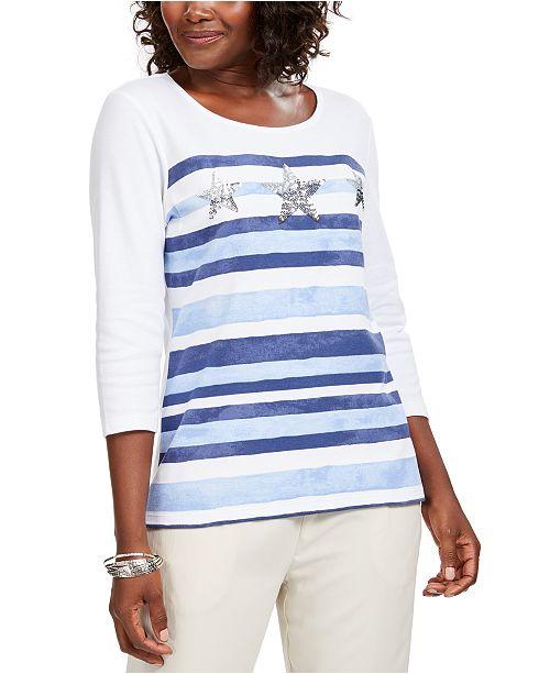 Karen Scott Striped Sequined Seashell Top, Created For Macy's