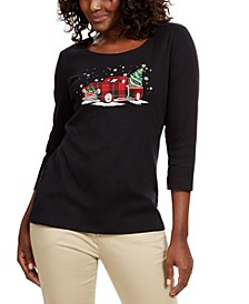 Cotton Holiday-Print T-Shirt, Created For Macy's