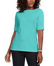 Boat-Neck Elbow-Sleeve Top, Created For Macy's
