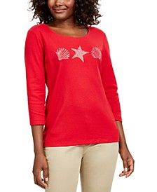 Petite Shell Graphic Top, Created For Macy's