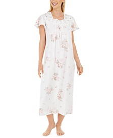 Women's Cotton Lace-Trim Floral-Print Long Nightgown