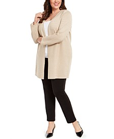 Plus Size Metallic Striped Cardigan, Created For Macy's