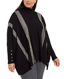 Plus Size Striped Poncho, Created For Macy's