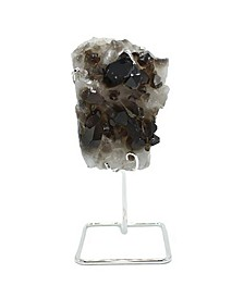 - Smoky Quartz Cluster on Silver-tone Wire Stand