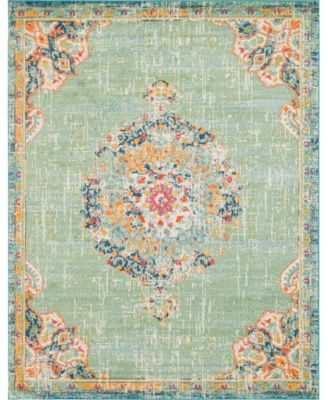 Lorem Lor1 Green 6' x 6' Round Area Rug
