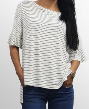 1804 Womens Step Hem Ruffle Sleeve T-Shirt