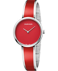 Women's Seduce Stainless Steel & Red Resin Bangle Bracelet Watch 30mm