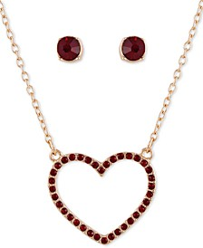 "Crystal Heart Pendant Necklace & Stud Earring Gift Set, 16"" + 2"" extender"