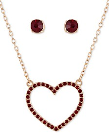 """GUESS Crystal Heart Pendant Necklace & Stud Earrings Set, 16"""" + 2"""" extender"""