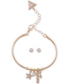 GUESS Crystal Star Bangle Bracelet & Stud Earrings Set