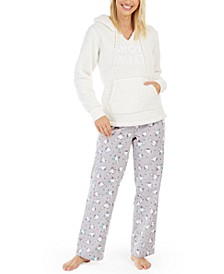 Faux-Sherpa Pajama Hoodie & Flannel Pajama Pants, Created For Macy's