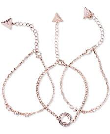 GUESS 3-Pc. Set Crystal Heart Chain Bracelets