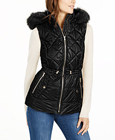 Michael Michael Kors Hooded Faux-Fur-Trim Puffer Vest