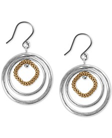 Two-Tone Triple-Hoop Orbital Drop Earrings