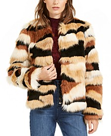 I.N.C. Faux-Fur Calico-Print Coat, Created For Macy's