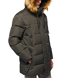 Men's Long Snorkel Down Coat with Faux-Fur Trim