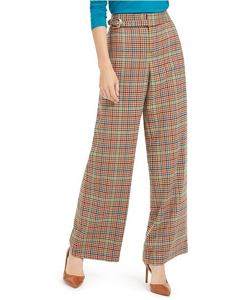 INC International Concepts I.N.C. Belted Plaid Wide-Leg Pants, Created For Macy's