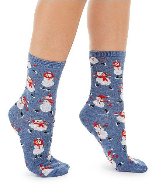 Charter Club Women's Snowmen Crew Socks, Created For Macy's