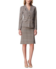 Foldover-Neck Plaid Jacket & Side-Pleat Plaid Pencil Skirt