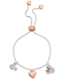 Disney Minnie & Mickey Charm Bolo Bracelet in Two-Tone