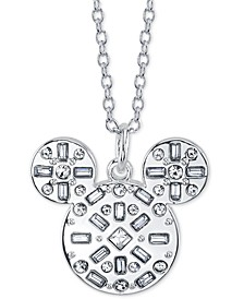 "Mickey Mouse Crystal Pendant Necklace, 16"" + 2"" extender"