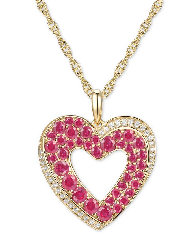 "Macy's Certified Ruby (2 ct. t.w.) & Diamond (1/10 ct. t.w.) Heart 18"" Pendant Necklace in 14k Gold"