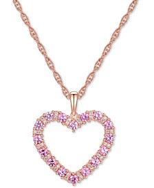 "Pink Sapphire (1-1/5 ct. t.w.) & Diamond (1/10 ct. t.w.) Open Heart 18"" Pendant Necklace in 14k Rose Gold"