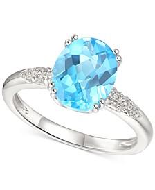 Blue Topaz (2-3/4 ct. t.w.) & Diamond (1/20 ct. t.w.) Ring in Sterling Silver