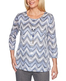 Sapphire Skies Chevron Knit Necklace Top