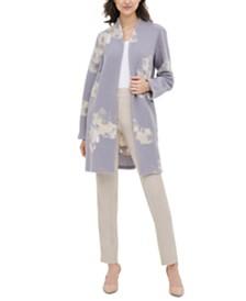 Calvin Klein Floral-Print Sweater Jacket