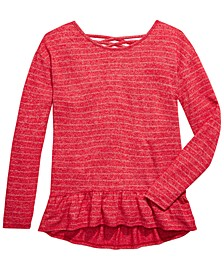 Big Girls Striped Marled Cross-Back Top, Created For Macy's